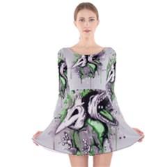 Recently Deceased Long Sleeve Velvet Skater Dress
