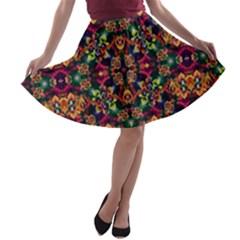 Luxury Boho Baroque A Line Skater Skirt