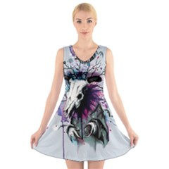 From Nature We Must Stray V-Neck Sleeveless Skater Dress
