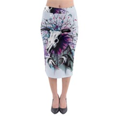 From Nature We Must Stray Midi Pencil Skirt