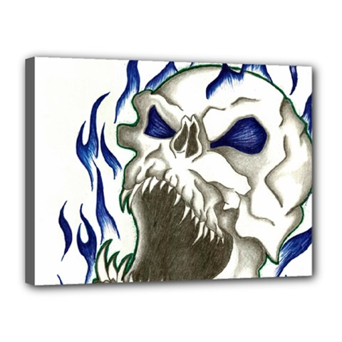 blue flame skull Canvas 16  x 12