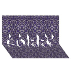 Stylized Floral Check SORRY 3D Greeting Card (8x4)