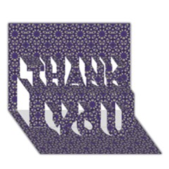 Stylized Floral Check THANK YOU 3D Greeting Card (7x5)