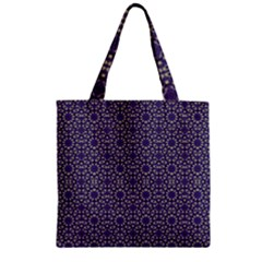 Stylized Floral Check Zipper Grocery Tote Bag