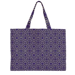 Stylized Floral Check Large Tote Bag