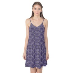 Stylized Floral Check Camis Nightgown