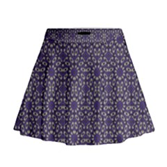 Stylized Floral Check Mini Flare Skirt