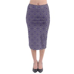 Stylized Floral Check Midi Pencil Skirt