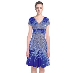 crystalline branches Short Sleeve Front Wrap Dress
