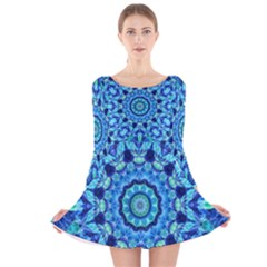 Blue Sea Jewel Mandala Long Sleeve Velvet Skater Dress