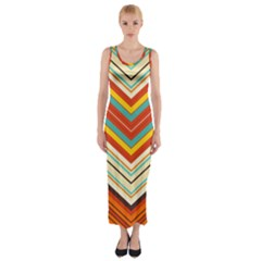 Bent stripes                                    Fitted Maxi Dress