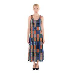 4 colors shapes                                    Full Print Maxi Dress