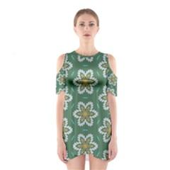 Yellow flowers pattern                                    Women s Cutout Shoulder Dress