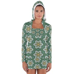 Yellow flowers pattern                                    Women s Long Sleeve Hooded T-shirt