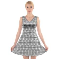 LOOK INSIDE V-Neck Sleeveless Skater Dress