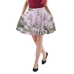 White Flower A-Line Pocket Skirt