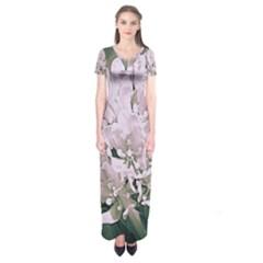 White Flower Short Sleeve Maxi Dress