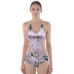 White Flower Cut Out One Piece Swimsuit