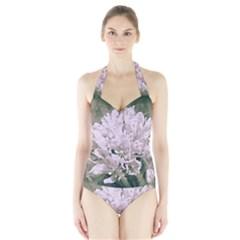 White Flower Women s Halter One Piece Swimsuit
