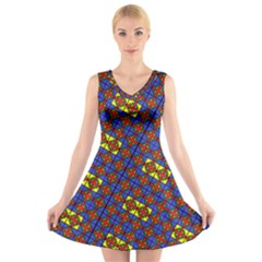 Twist V-Neck Sleeveless Skater Dress