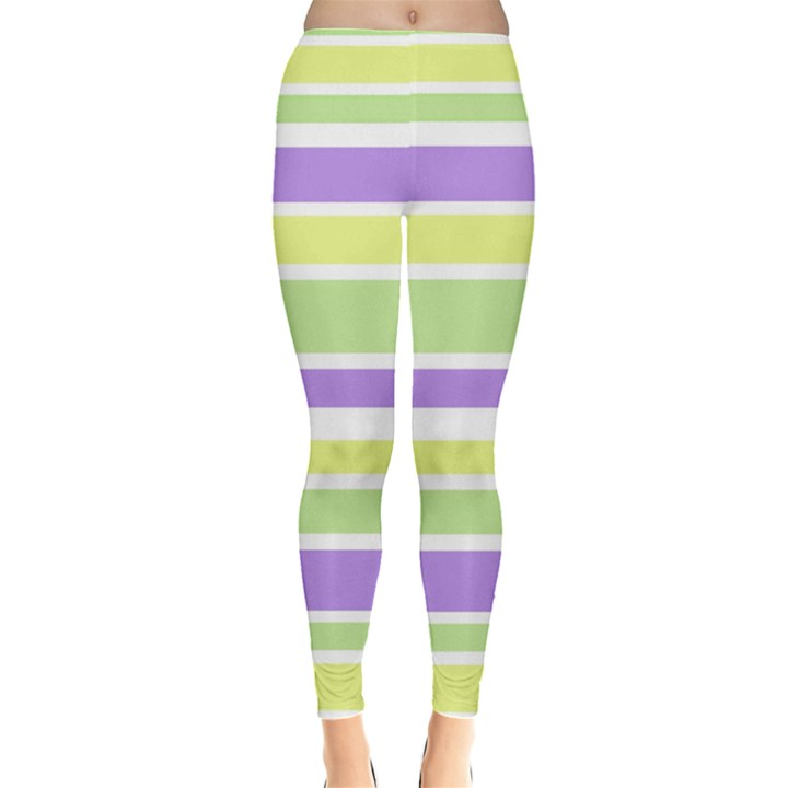 Yellow Purple Green Stripes Leggings
