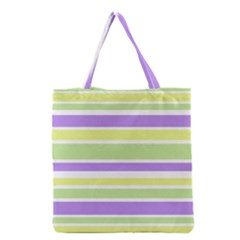 Yellow Purple Green Stripes Grocery Tote Bag