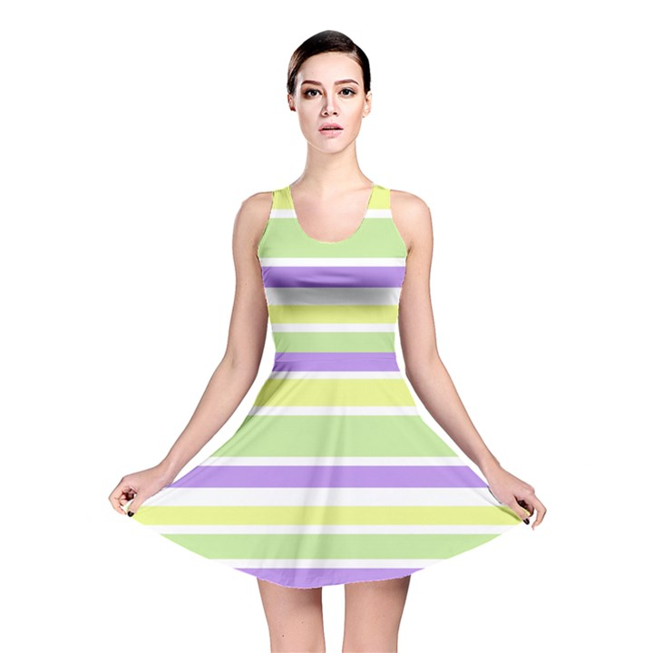 Yellow Purple Green Stripes Reversible Skater Dress