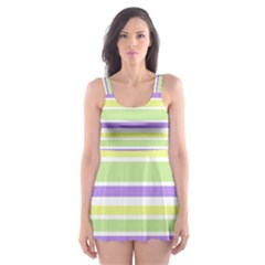 Yellow Purple Green Stripes Skater Dress Swimsuit