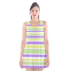 Yellow Purple Green Stripes Scoop Neck Skater Dress