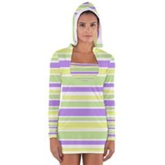 Yellow Purple Green Stripes Women s Long Sleeve Hooded T-shirt