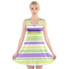 Yellow Purple Green Stripes V Neck Sleeveless Skater Dress