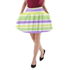 Yellow Purple Green Stripes A-Line Pocket Skirt