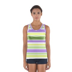 Yellow Purple Green Stripes Tops