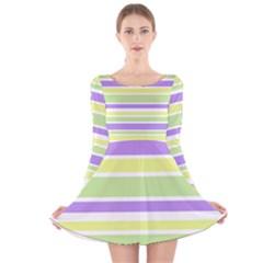 Yellow Purple Green Stripes Long Sleeve Velvet Skater Dress
