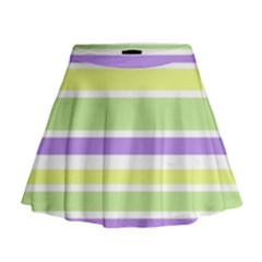 Yellow Purple Green Stripes Mini Flare Skirt