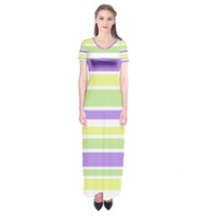 Yellow Purple Green Stripes Short Sleeve Maxi Dress