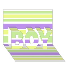 Yellow Purple Green Stripes BOY 3D Greeting Card (7x5)