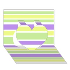 Yellow Purple Green Stripes Heart 3D Greeting Card (7x5)