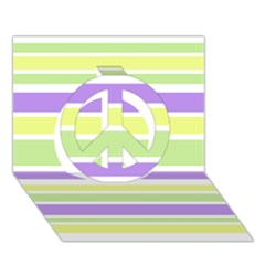 Yellow Purple Green Stripes Peace Sign 3d Greeting Card (7x5)