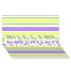 Yellow Purple Green Stripes ENGAGED 3D Greeting Card (8x4)