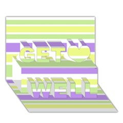 Yellow Purple Green Stripes Get Well 3d Greeting Card (7x5)
