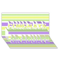 Yellow Purple Green Stripes Congrats Graduate 3d Greeting Card (8x4)