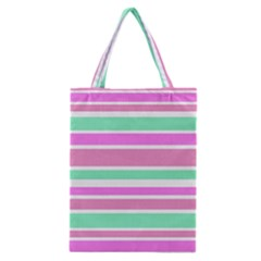 Pink Green Stripes Classic Tote Bag