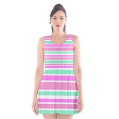 Pink Green Stripes Scoop Neck Skater Dress