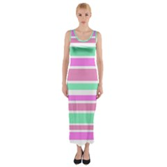 Pink Green Stripes Fitted Maxi Dress
