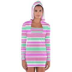 Pink Green Stripes Women s Long Sleeve Hooded T-shirt