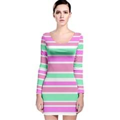 Pink Green Stripes Long Sleeve Velvet Bodycon Dress