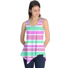 Pink Green Stripes Sleeveless Tunic