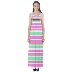 Pink Green Stripes Empire Waist Maxi Dress
