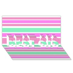 Pink Green Stripes BEST SIS 3D Greeting Card (8x4)
